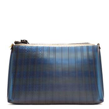Pochette Donna GUM linea Plisse di colore Blu con Pochette Interna a Righe