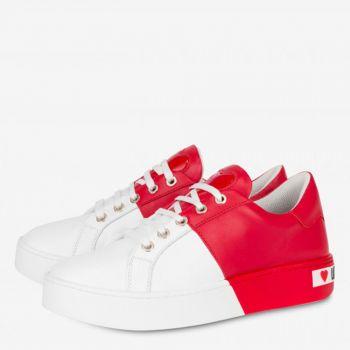 Sneakers Donna Love Moschino in Pelle Bicolor Bianco e Rosso