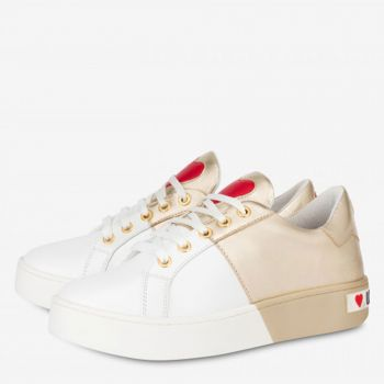 Sneakers Donna Love Moschino in Pelle Bicolor Bianco e Oro