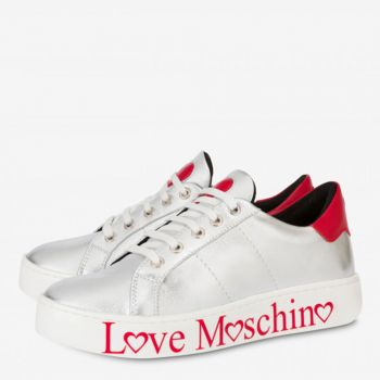 Sneakers Donna Love Moschino in Nappa Silver con Logo Rosso