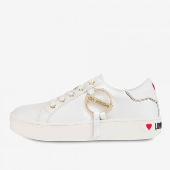 Scarpe Donna LOVE MOSCHINO Sneakers in Pelle Bianca linea Round Buckle