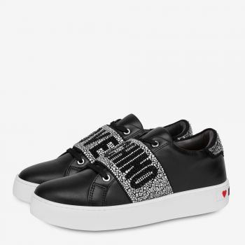 LOVE MOSCHINO Crystal Band Line – Black Leather Sneakers
