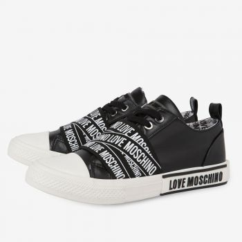 LOVE MOSCHINO Logo Label Line – Black Leather Sneakers