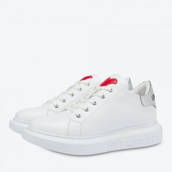 Scarpe Donna LOVE MOSCHINO Sneakers linea Love Running in Pelle Bianca