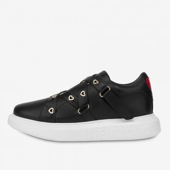 Scarpe Donna LOVE MOSCHINO Sneakers in Pelle Nera linea Heart Eyelets