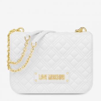Borsa Donna a Spalla LOVE MOSCHINO linea New Shiny Quilted Bianco