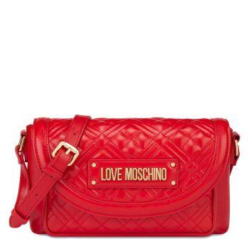 Borsa Donna a Tracolla con Pattina LOVE MOSCHINO effetto Trapuntato con Logo Rossa