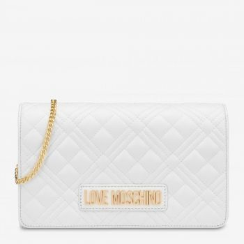 Clutch Donna con Tracolla LOVE MOSCHINO linea New Shiny Quilted Bianco