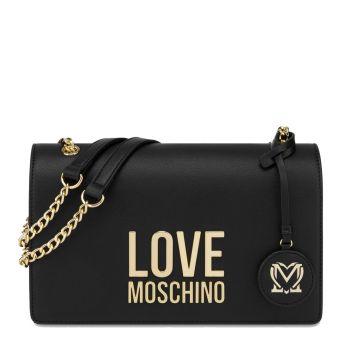 Borsa Donna a Spalla LOVE MOSCHINO linea Gold Metal Logo Nero