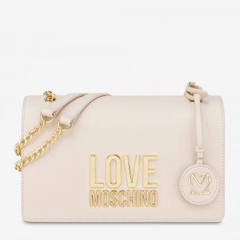 Borsa Donna a Spalla LOVE MOSCHINO linea Gold Metal Logo Avorio