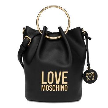 Borsa Donna a Secchiello LOVE MOSCHINO linea Gold Metal Logo Nero