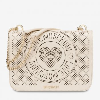 LOVE MOSCHINO Perforated Heart Line – Ivory Shoulder Bag