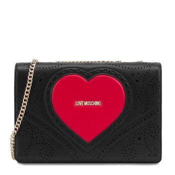 Borsa Donna a Spalla LOVE MOSCHINO linea Heart Embroidery Nero