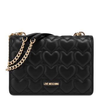 LOVE MOSCHINO Heart Quilted Line – Black Shoulder Bag