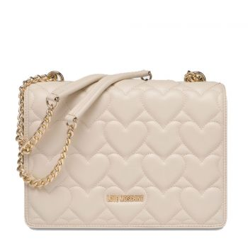 LOVE MOSCHINO Heart Quilted Line – Ivory Shoulder Bag