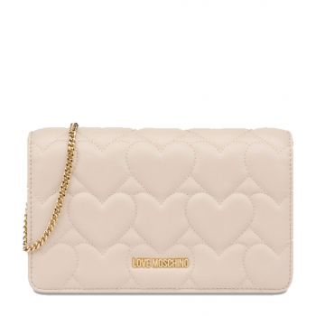 LOVE MOSCHINO Heart Quilted Line – Ivory Clutch with Shoulder Strap