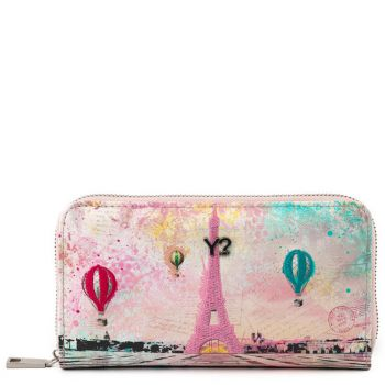 Portafoglio Donna Y NOT POP-361 Paris- Chiusura Zip Around