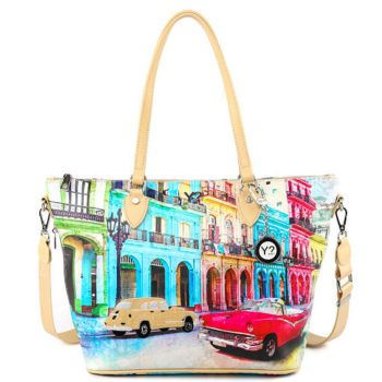 Borsa Donna Y NOT Shopping Media a Spalla con Tracolla POP-396 Cuba