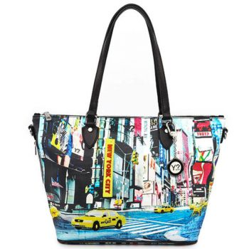 Borsa Donna Y NOT Shopping Media a Spalla con Tracolla POP-396 New York