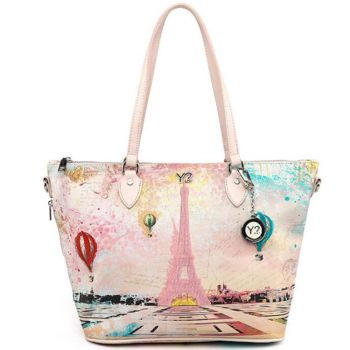 Borsa Donna Y NOT Shopping Media a Spalla con Tracolla POP-396 Paris