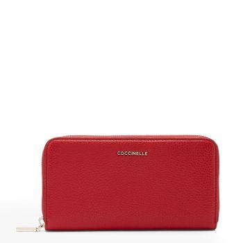 Portafoglio Zip Around in Pelle Martellata COCCINELLE Linea Metallic Soft Colore Ruby