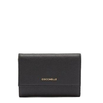 Portafoglio Piccolo COCCINELLE in Pelle Martellata Linea Metallic Soft colore Nero