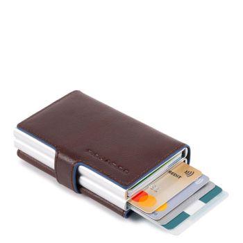 Portacarte PIQUADRO in Pelle e Alluminio con RFID Colore Mogano Linea Blue Square