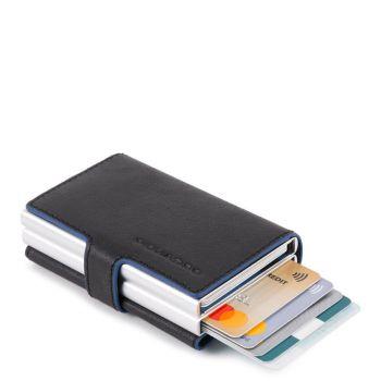 Portacarte PIQUADRO in Pelle e Alluminio con RFID Colore Nero Linea Blue Square