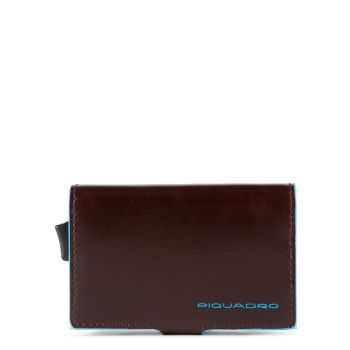 Portacarte PIQUADRO in Pelle e Alluminio con RFID in Pelle Mogano Linea Blue Square