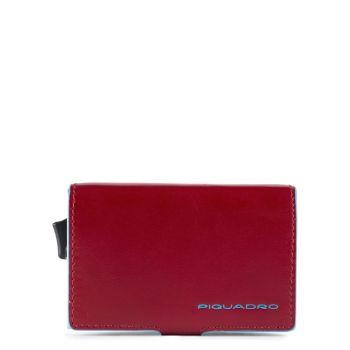 Portacarte PIQUADRO in Pelle e Alluminio con RFID in Pelle Rossa Linea Blue Square