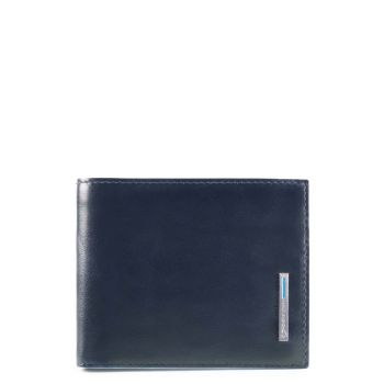Portafoglio Uomo Piquadro In Pelle Blu con Pattina e Portamonete - PU4518B2R linea Blue Square