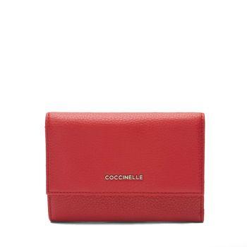 Portafoglio Piccolo COCCINELLE in Pelle Martellata Linea Metallic Soft colore Ruby