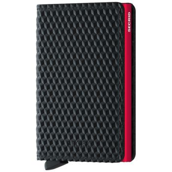 Porta Carte SECRID linea Cubic in Pelle colore Nero e Rosso con RFID