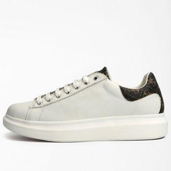 Scarpe Uomo GUESS Sneakers di colore Bianco e Marrone Logato Linea Salerno