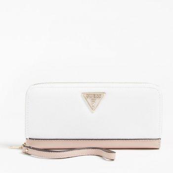 Portafoglio GUESS Zip Around Linea Sandrine colore White Multi