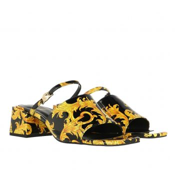 Versace Jeans Couture Twiggy Line – Black and Gold Sandals For Women