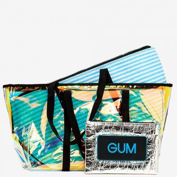 Shopper a Spalla Grande GUM linea Seasonless con Borsa Interna a Righe Azzurre e Bianche