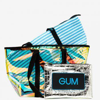Shopper a Spalla GUM linea Seasonless con Borsa Interna a Righe Azzurre e Bianche