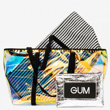 Shopper a Spalla Grande GUM linea Seasonless con Borsa Interna a Righe Nere e Bianche