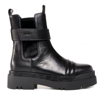 Scarpe Donna LIU JO Stivaletti Ankle Boots in Pelle Nero