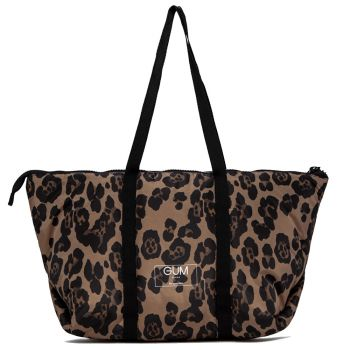 Shopper a Spalla Grande in Tessuto GUM linea Seasonless con Cover Anti Pioggia Stampa Leopardo
