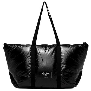 Shopper a Spalla Grande in Tessuto GUM linea Seasonless con Cover Anti Pioggia Nero