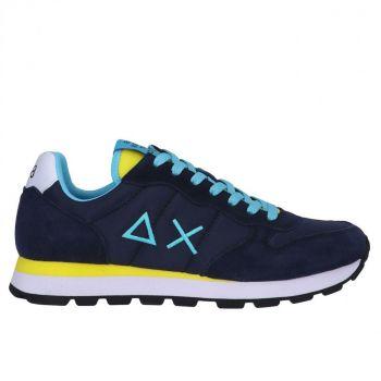 Scarpe Uomo Sun68 Sneakers Tom Solid Nylon colore Navy Blue - Giallo