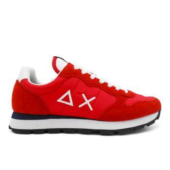 Scarpe Uomo Sun68 Sneakers Tom Solid Nylon Rosso - Bianco - Z30101