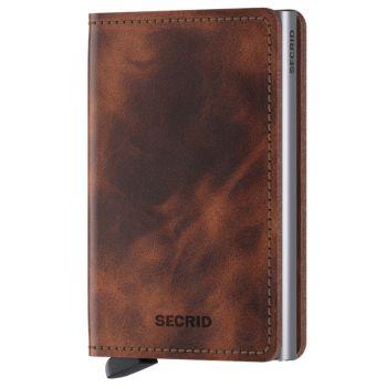 Porta Carte SECRID linea Vintage in Pelle colore Marrone con RFID