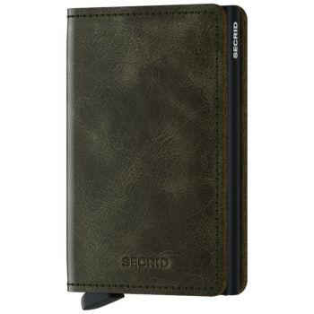 Porta Carte SECRID linea Vintage in Pelle colore Olive-Black con RFID
