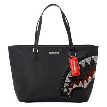 SPRAYGROUND Trinity 2.0 Shark Printed Fabric Black Tote Bag