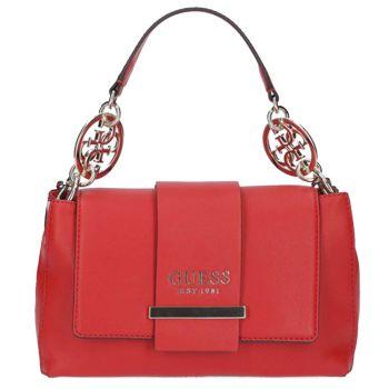 Borsa Donna a Mano con Portabilità a Tracolla GUESS Modello Tara Colore Rosso