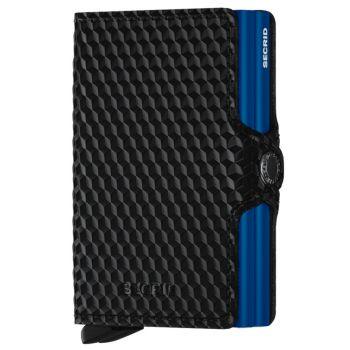 Porta Carte Doppio Scomparto con Clip SECRID linea Cubic in Pelle Black e Blue con RFID