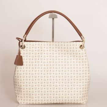 POLLINI Heritage Line – Ivory Tote Bag with Brown and Golden Details